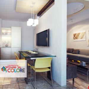 Ristrutturazione cucina: colore e cartongesso